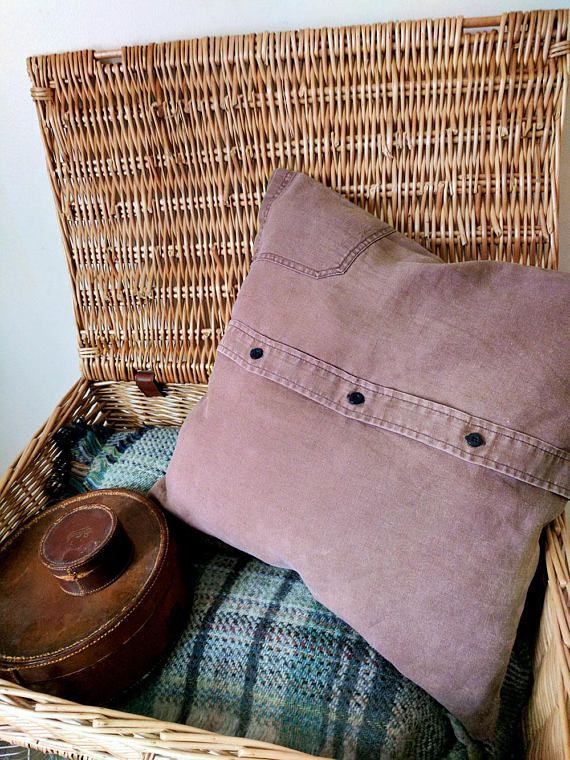 Dusky plum cushion cover from Ever Home. Upcycled men's shirts given a new lease of life - reuse, relove forEver.  https://www.etsy.com/listing/530788453/dusky-plum-cushion-cover-decorative