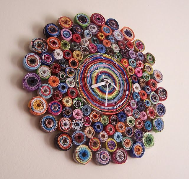 Recycled Magazine Clock with instructions - ooh another craft idea excellent using one of my favorite mediums magazine paper.