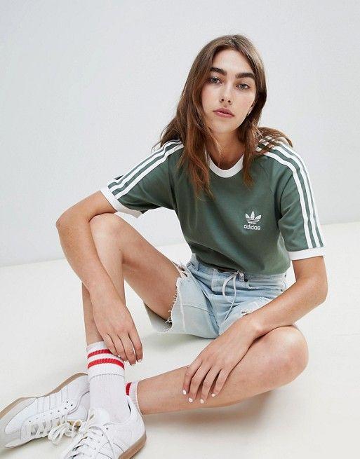 90cbb4dad27b2 adidas Originals 3 Stripe T-Shirt In Khaki | STYLE | Adidas, Adidas ...