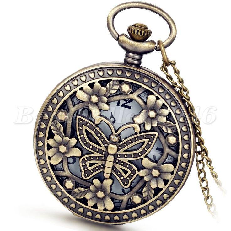 Vintage Hollow Butterfly Digital Dial Quartz Pocket Watch Necklace Pendant Chain #Unbranded
