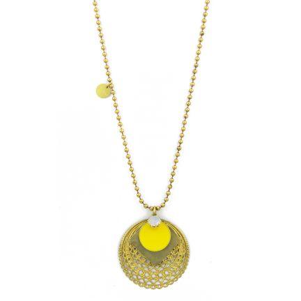 Natanè Planet necklace with yellow enamel.  #necklace #collane #colors #yellow #woman #fashion #style #outfit #swarovski #jewel #bijoux