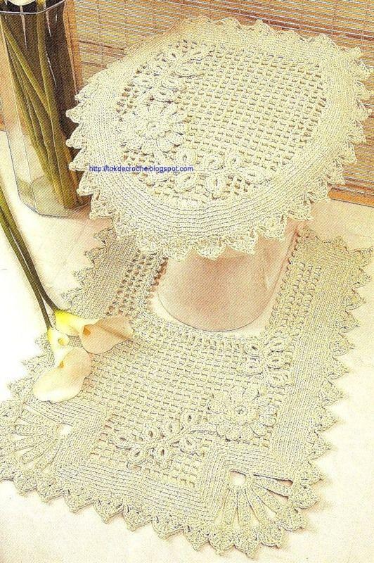Conjunto para el ba o juegos de ba o en crochet for Set de bano tejidos