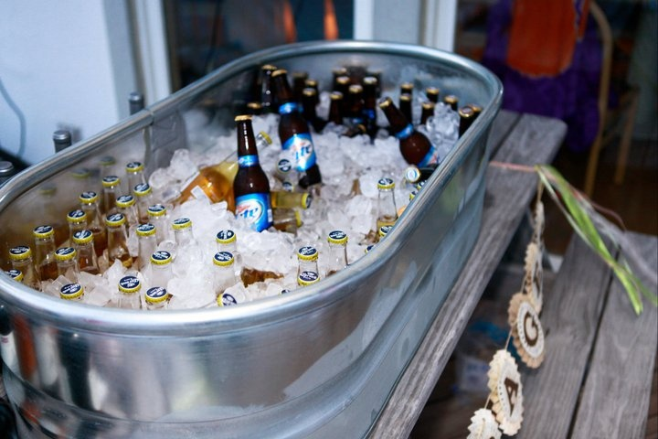 Beer And Wine On Ice In A Large Galvanized Tub From