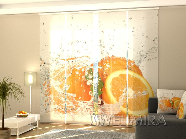 Good Set of Panel Curtains Juicy Orange Wellmira ModernCurtains PanelCurtains Curtains JapaneseCurtains Fotogardine Schiebevorhang Fl chenvorhang