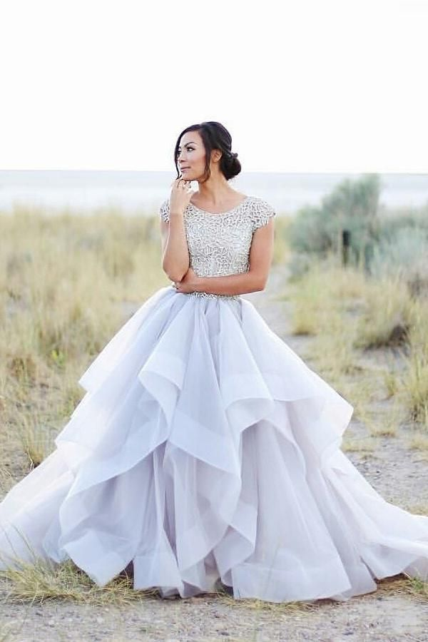 Cap Sleeves Ivory Ball Gown Long Lace Princess Prom Dresses,Wedding ...