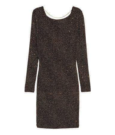 Glittery Dress | Black/gold-colored | Women | H&M US