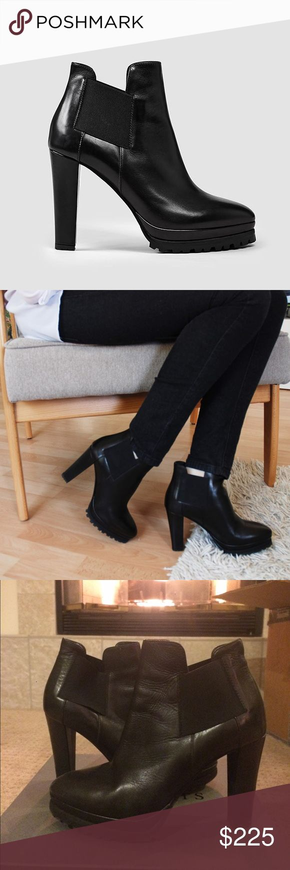 Heeled platform Chelsea boot Sarris Chelsea boot that has a platform heel! Designed in Italy. 100% leather. 4 inch heel. All Saints Shoes Ankle Boots & Booties