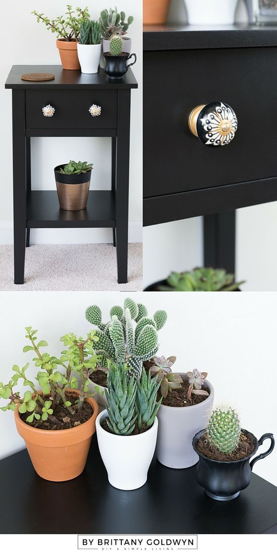 Check out this nightstand makeover using Decoart Americana Decor Satin Enamels paint in Classic Black (plus a little hardware upgrade!)