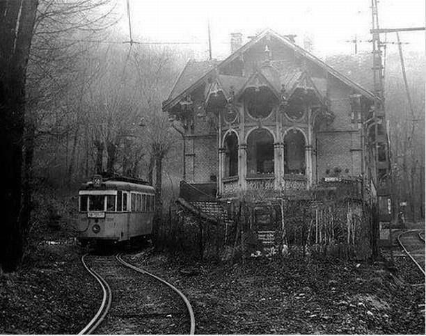 Abandoned trolley station and trolley car.