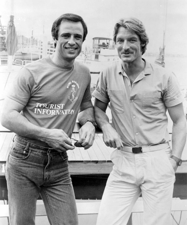 Joe Penny as 'Nick Ryder' & Perry King as 'Cody Allen,' former Army buddies who open a detective agency, in Riptide (1983-86, NBC)