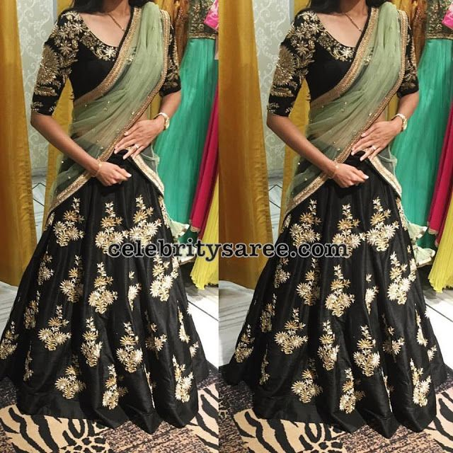 Black Half Saree by Mrunalini Rao