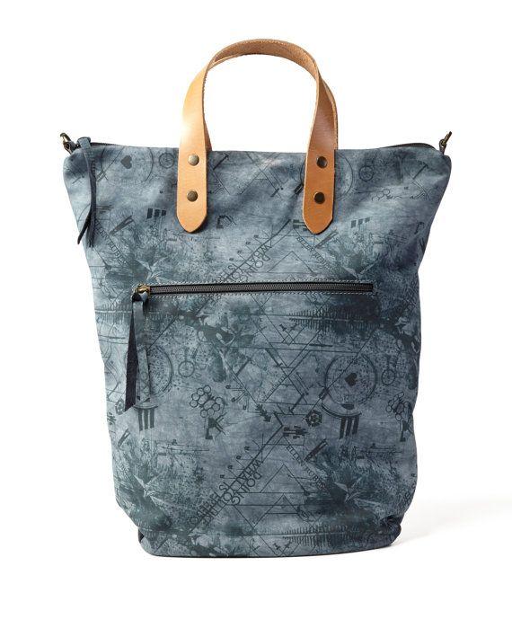 Sac en cuir bleu denim / Cross Body Bag / sac de voyage / sac de week-end / chaque bourse de jour / au-dessus de la sac de taille / Sac sac / sac - Puma imprimé