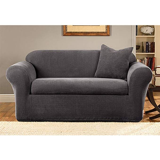 Sure Fit Stretch Metro 2 Piece Sofa Slipcover Gray Sf39413