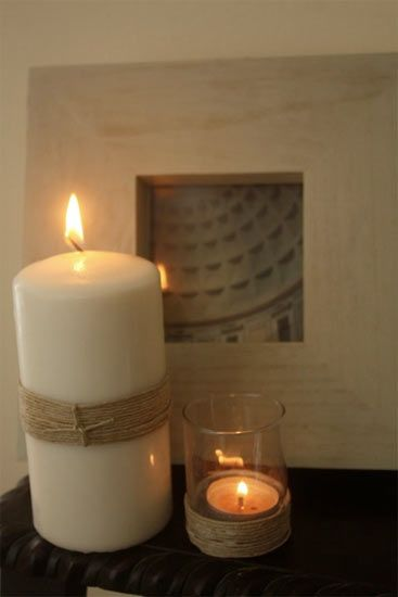 Twine Wrapped Candles.  Love this