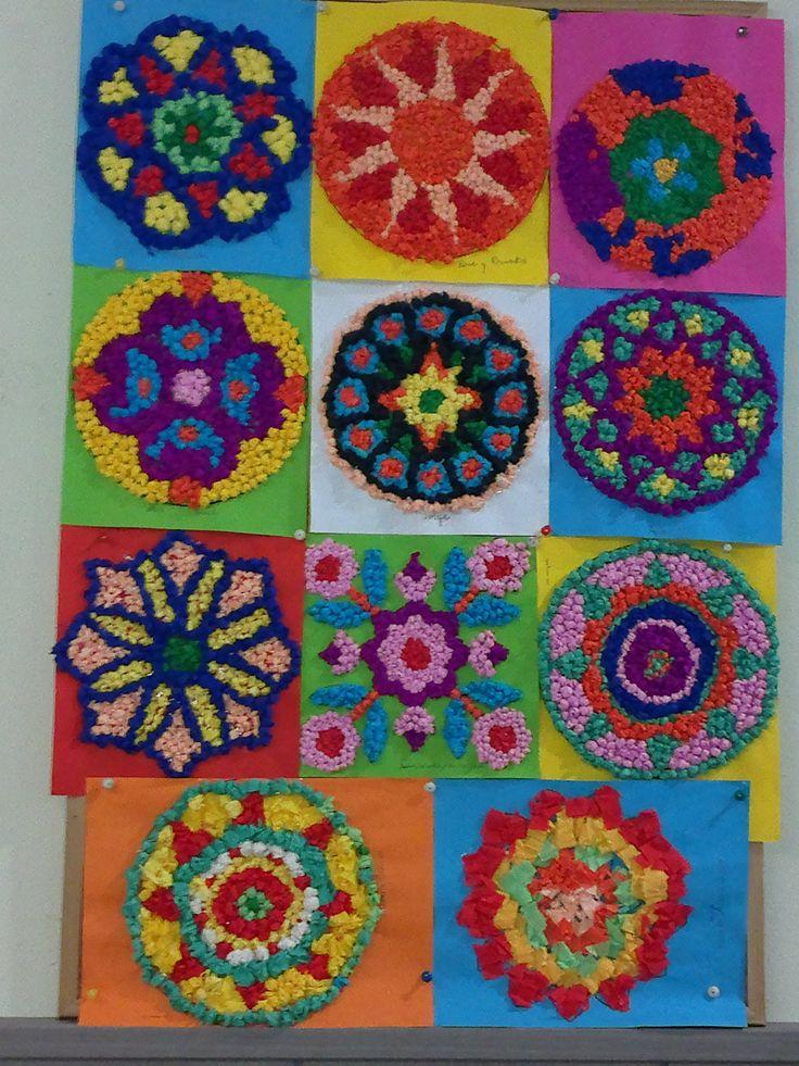 Mandalas realizados con papel crep ideas manualidades for Manualidades con papel crepe
