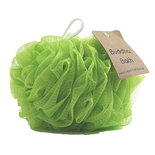 Buddha Bath 3 Pack of Luxury Bath Sponges Eco-Friendly Large Mesh Loofah Pouf 2 Deluxe Color Options