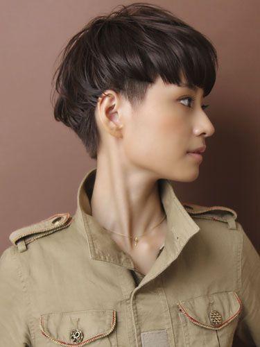 asian girl short hair. Undercut