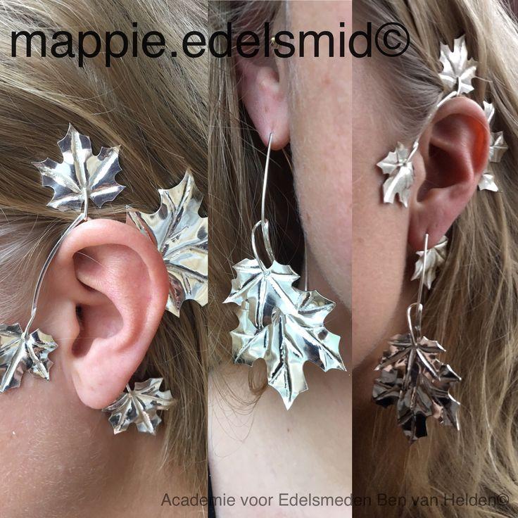 Nog steeds herfst…zilveren oorbellen van Esdoorn bladeren/ Still autumn ... silver earrings Maple Leaves  ⚒ #edelsmid #goldsmith #oorbellen #earrings #earcuff #zilver #silver #instajewelry #handmade #handmadejewelry #handcrafed #handcraftedjewelry #bladeren #leaves #herfst #autumn ⚒