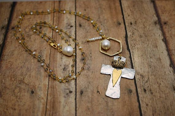 Cross Necklace with Gold, Rustic Pearl and Labradorite / Confirmation Gift for her / Birthstone Jewelry / Catholic Jewelry / Rustic Necklace