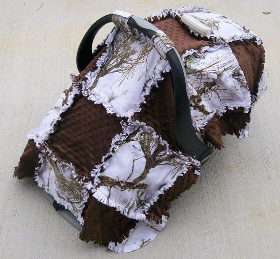 White Camo Brown Minky Baby Infant Car Seat Tent Cover