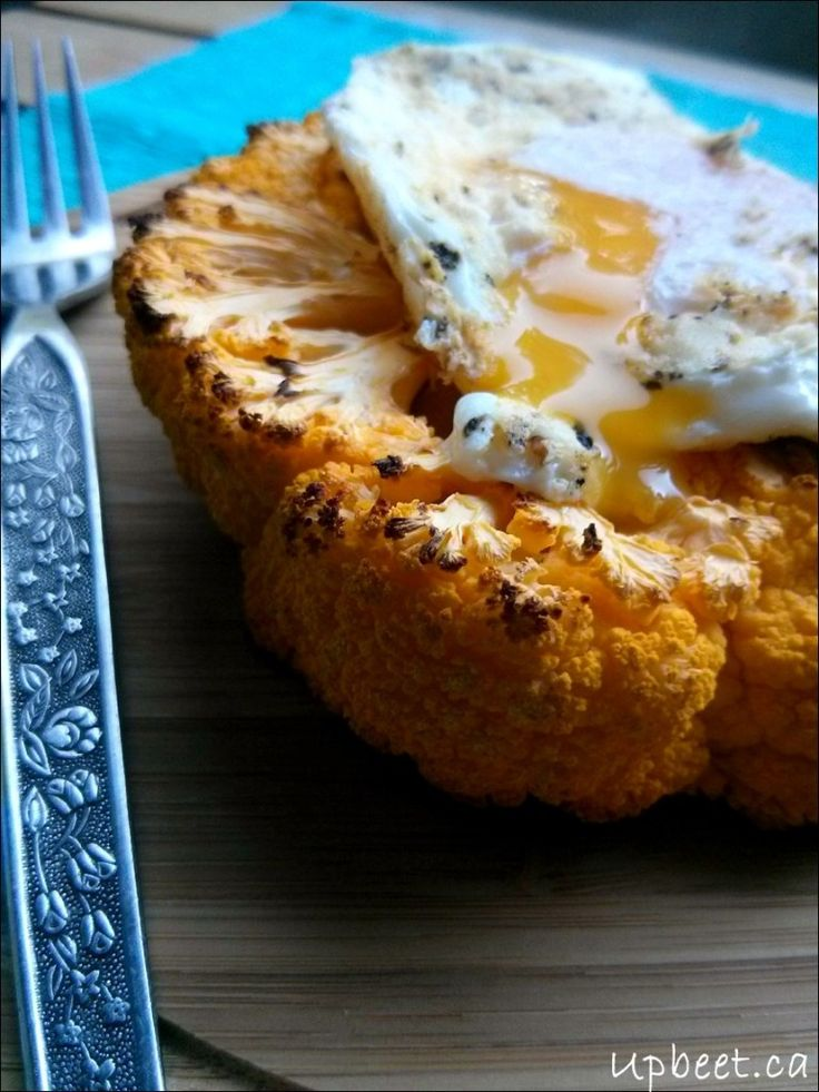 Grilled Cauliflower Steak with Truffled Eggs