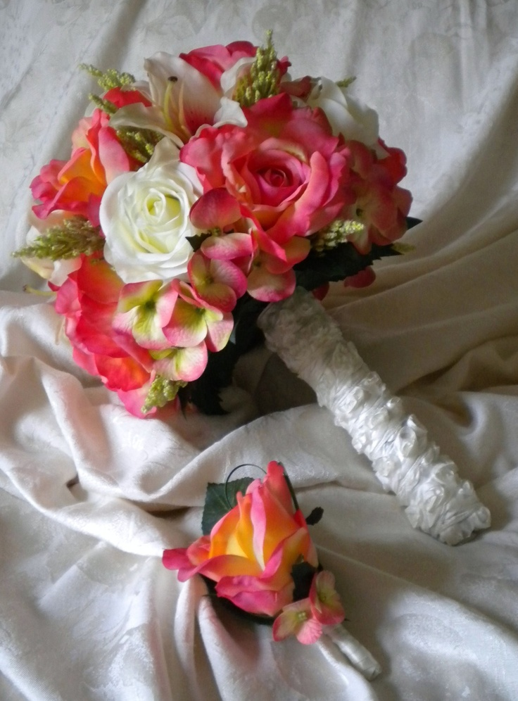WATERMELON Wedding Bouquet with Matching Boutonniere. $135.00, via Etsy.