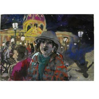 Pont des Arts at Night (self portrait in Paris) by Wendy Sharpe gouache on paper 2009