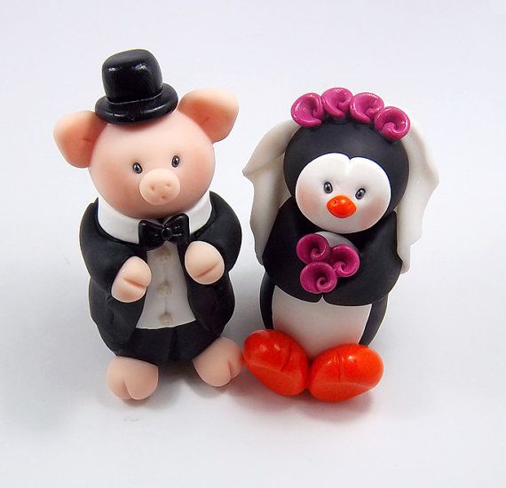 Custom Wedding Cake Topper Pig And Penguin By HeartshapedCreations