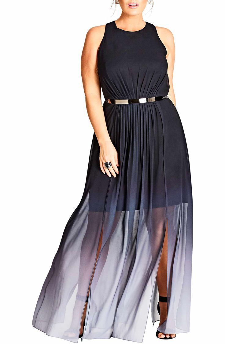 Main Image - City Chic Statement Ombré Maxi Dress (Plus Size)