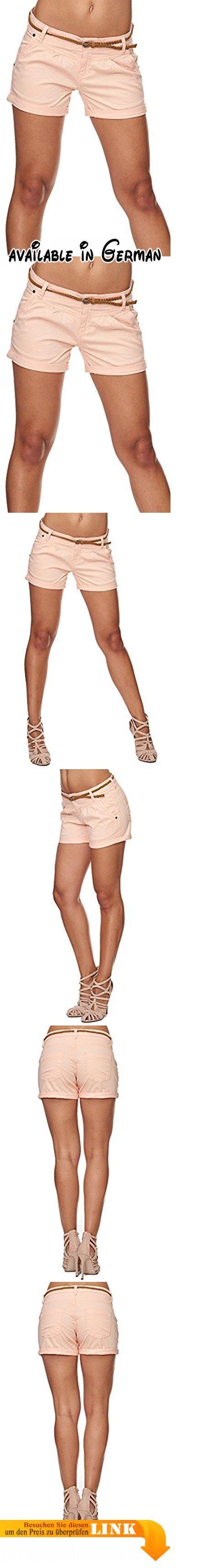 SUBLEVEL Damen Cuba Chino Shorts Bermuda kurze Hose inkl. Gürtel Pastel Orange M. STYLE: In hellen Sommerfarben überzeugt diese wundervolle Bermuda zudem mit einem weichen und leichtem Material. Perfekt für den Sommer!. LOOK: Helle Outfits mit weißen Shirts lassen sich super mit diesen leichten Hosen erstellen. Auch ein angesagter Print in Pastelltönen passt wunderbar dazu.. TRAGEGEFÜHL: Die kurze Hose von SUBLEVEL trägt sich sehr locker. Die Bundfalten sorgen für