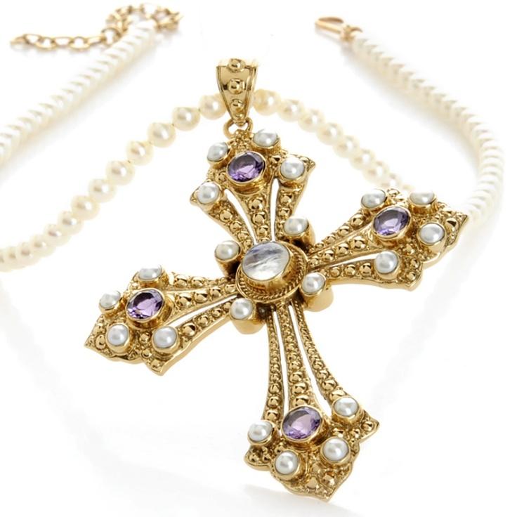 "Nicky Butler 2.4ct Multigemstone Budded Cross Pendant with 17"" Necklace at HSN.com~I love Nicky Butler designs!!"