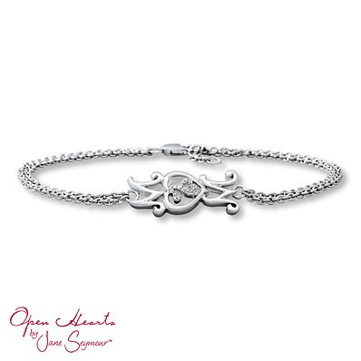 Open Hearts Mom Bracelet Diamond Accents Sterling Silver. Thanks Michael and Michela for the Mother's Day gift.