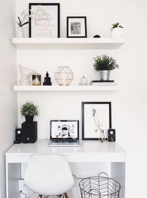 White Floating Shelves Echo With The Lacquer Desk For A Perfect Stylish Look