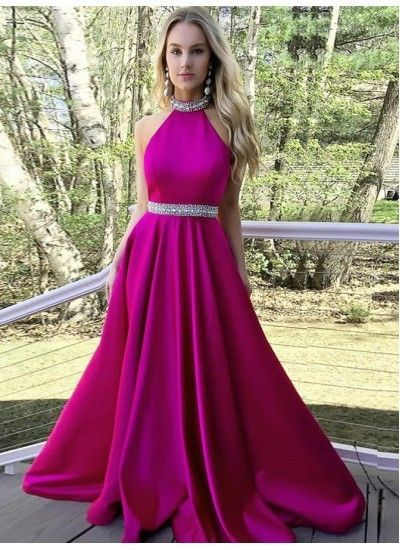 c5114e1c57f ... Satin Prom Dress with Beading. High Neck Prom Dresses