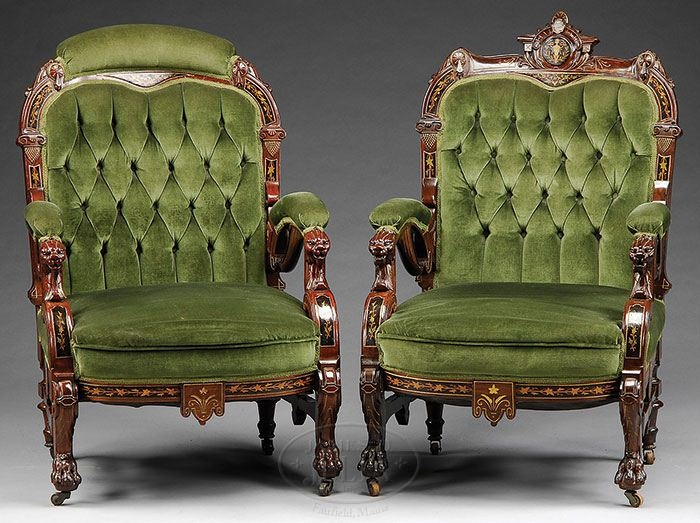 Victorian. Herter Inlaid Upholstered Set