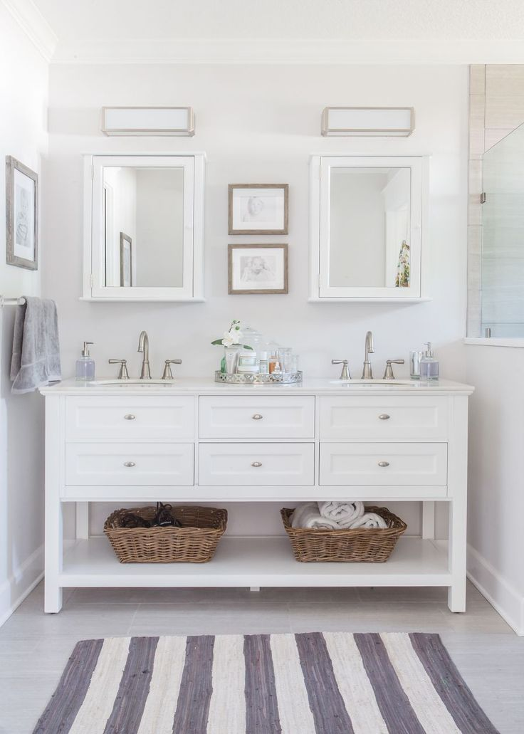 Master Bathroom  Roseland Project Renovation    grey and white bathroom   home decorators Austell furniture vanity  Moen Banbury faucet  EVER Skincare. Best 25  White vanity bathroom ideas on Pinterest   White bathroom