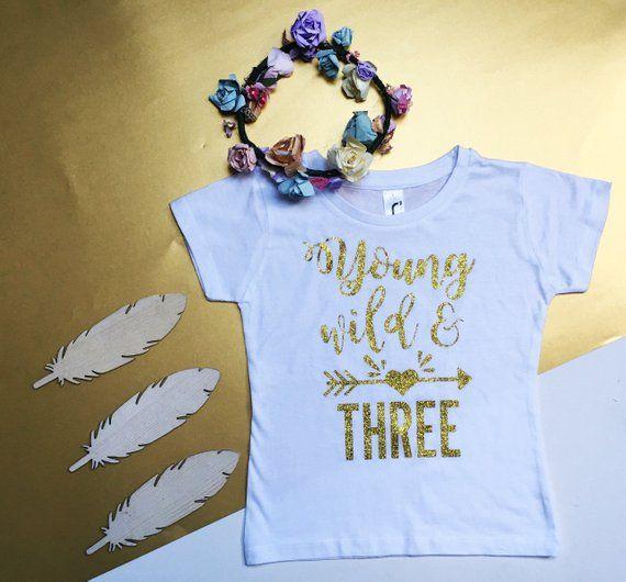 Wild and Three Shirt Third Birthday Girl Outfit Birthday Hoodie Boho Girl Clothes Boho Baby Clothes Custom Third Birthday Girl Shirt