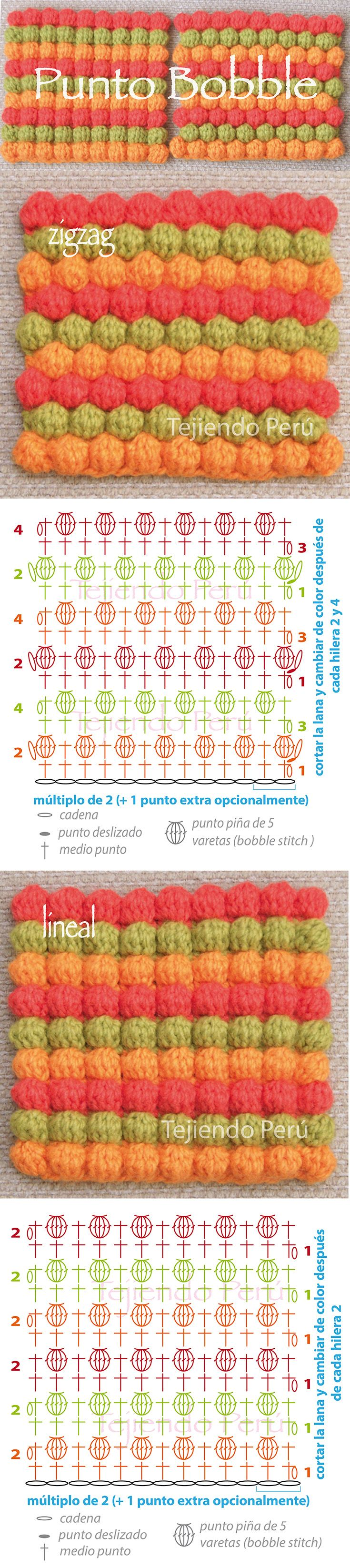 Punto bobble o puff tejido a crochet en zigzag y en forma lineal (diagramas!)