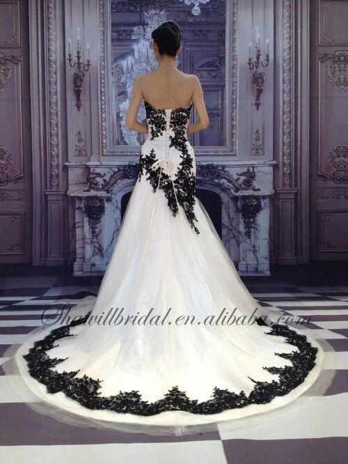 White wedding dress with black application
