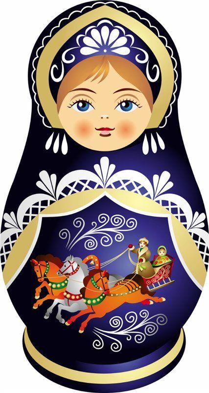 Matryoshka - Russian nesting doll. Vector clipart. #art #Russian #dolls
