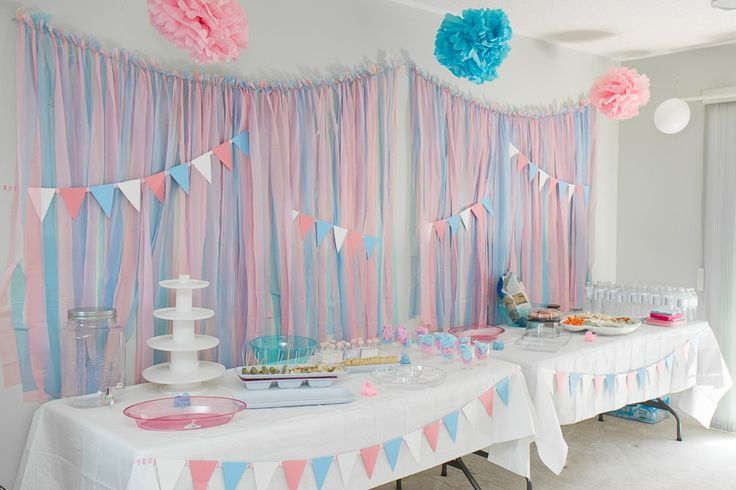 Gender Reveal Party. Setup. Decorations