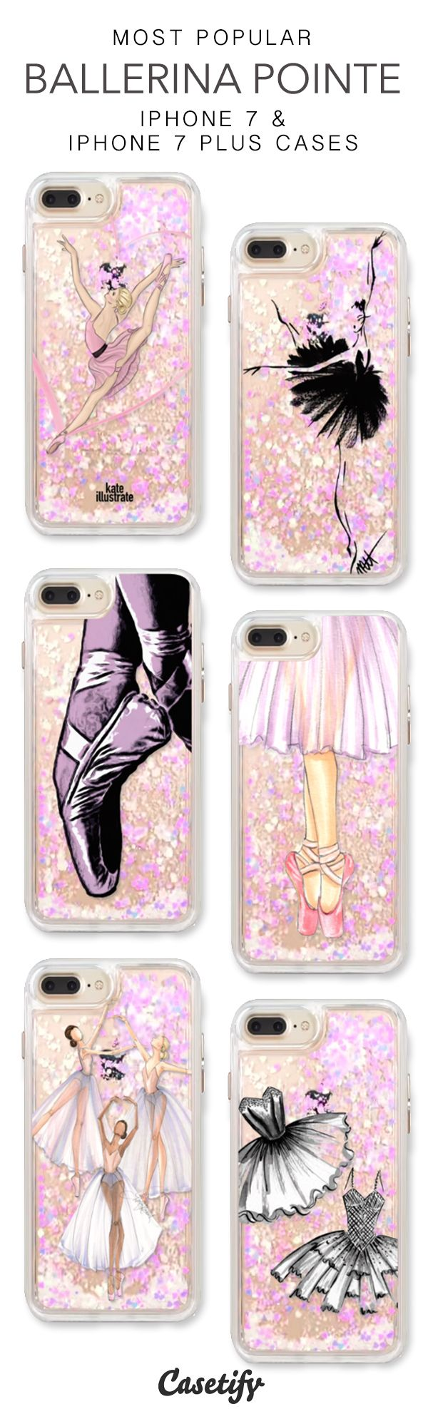Most Popular Ballerina Pointe iPhone 7 Cases & iPhone 7 Plus Cases. More protective ballet liquid glitter iPhone case here > https://www.casetify.com/en_US/collections/iphone-7-glitter-cases#/?vc=l4eacsa7kh