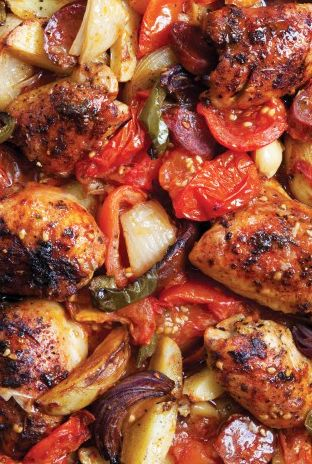 Scrumpdillyicious: Pollo Guisado with Chorizo, Peppers & Potatoes