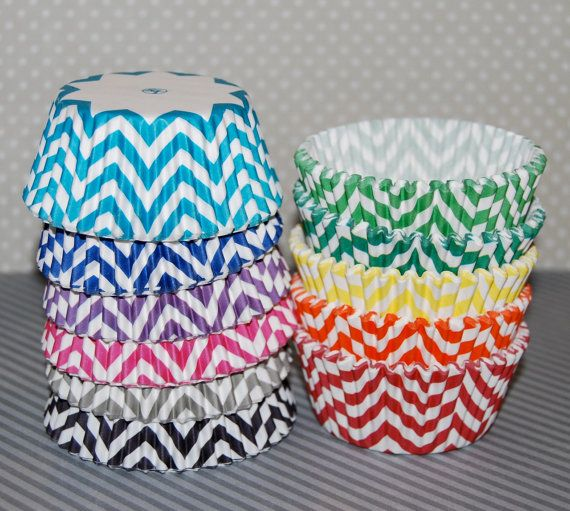 Pink Chevron cupcake liners 60 baking cups muffin by swigshoppe