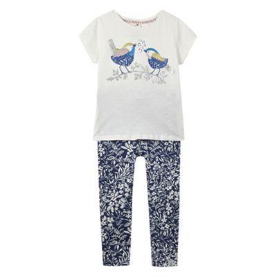 Mantaray Girl's white sequinned bird t-shirt and leggings set- at Debenhams.com