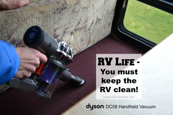 #RVLife - Keeping our 5th Wheel Travel Trailer clean with the Dyson DC58 Handheld Vacuum Cleaner
