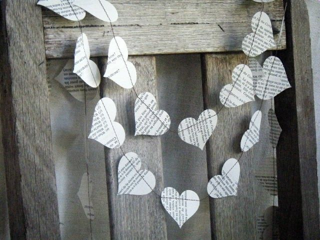 Vintage Paper Garland Illustrated Dictionary Hearts. $14.00, via Etsy.