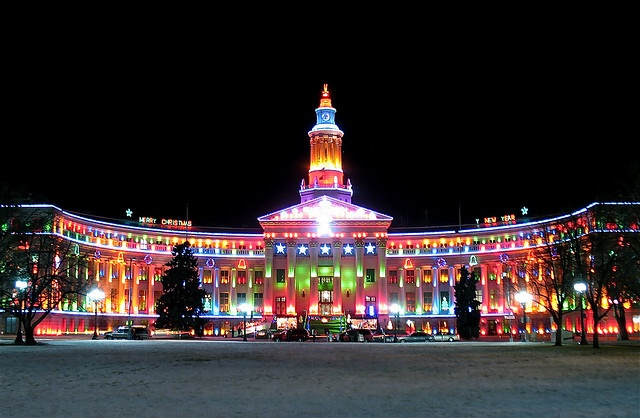 State Capitol building in Denver Colorado...Christmas time  <--  They make top 10 lists, deservedly.  Beautiful lights!
