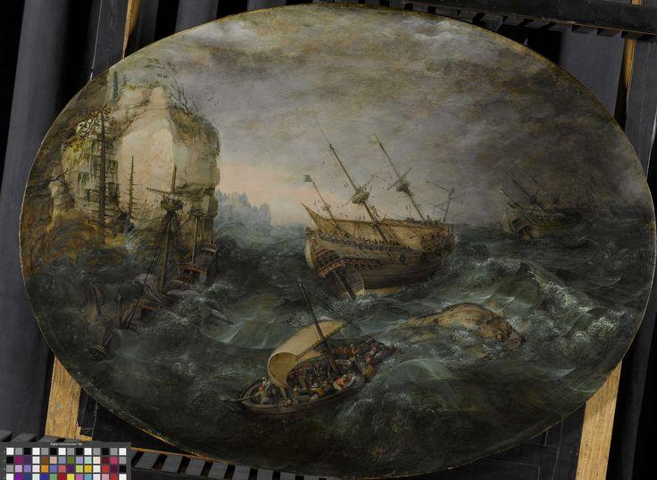 Adam Willaerts   Shipwreck off a Rocky Coast, Adam Willaerts, 1614   Schipbreuk op een rotsachtige kust. Op een woelige zee voor een kust heeft een schip, links, schipbreuk geleden. Op de voorgrond een sloep volbeladen met mensen, daarachter een walvis en twee andere schepen die de storm trotseren.