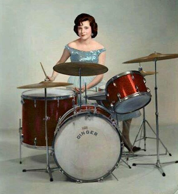 1950s - 60s photo of woman playing drums.